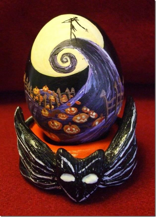 "Artist Lorraine Schleter created a holiday mash-up (or scramble, if you will) for the ages when she depicted Tim Burton's ""The Nightmare Before Christmas"" on a chicken egg. Its special stand is made of a polymer clay. See more of her work here ."