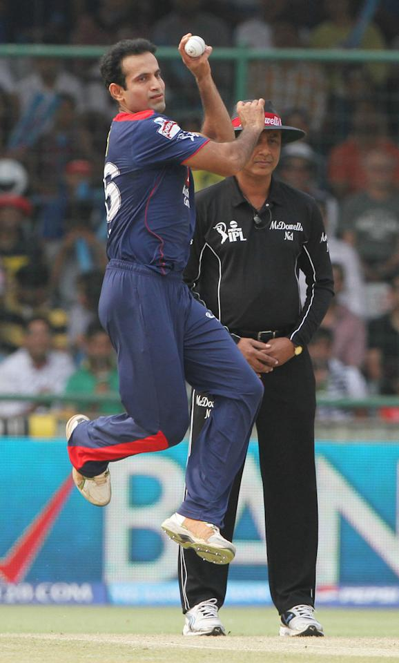 Delhi Daredevils player Irfan Pathan during match 28 of the Pepsi Indian Premier League between The Delhi Daredevils and the Mumbai Indians  held at the Feroz Shah Kotla Stadium, Delhi on the 21st April 2013..Photo by Deepak Malik-IPL-SPORTZPICS ..Use of this image is subject to the terms and conditions as outlined by the BCCI. These terms can be found by following this link:..https://ec.yimg.com/ec?url=http%3a%2f%2fwww.sportzpics.co.za%2fimage%2fI0000SoRagM2cIEc&t=1506385881&sig=TLldRR3qG8mAvxawnvcx7w--~D