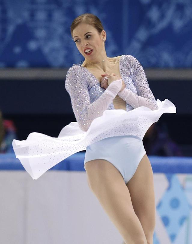 Carolina Kostner of Italy competes in the women's short program figure skating competition at the Iceberg Skating Palace during the 2014 Winter Olympics, Wednesday, Feb. 19, 2014, in Sochi, Russia