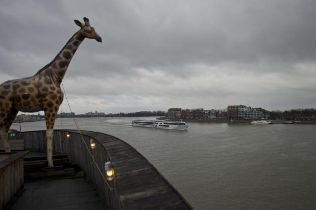 A life-size replica of a giraffe overlooks Merwede river from a full scale replica of Noahís Ark which opened its doors in Dordrecht, Netherlands, Monday Dec. 10, 2012, after receiving permission to receive up to 3,000 visitors per day. (AP Photo/Peter Dejong)