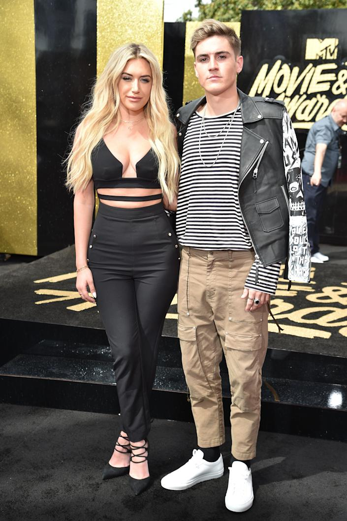Anastasia Karanikolaou (L) and Sammy Wilk attend the 2017 MTV Movie And TV Awards at The Shrine Auditorium on May 7, 2017 in Los Angeles, California.