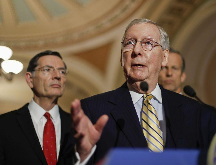 Senate Majority Leader Mitch McConnell of Kentucky speaks to reporters on Capitol Hill on Tuesday. (Photo: Pablo Martinez Monsivais)
