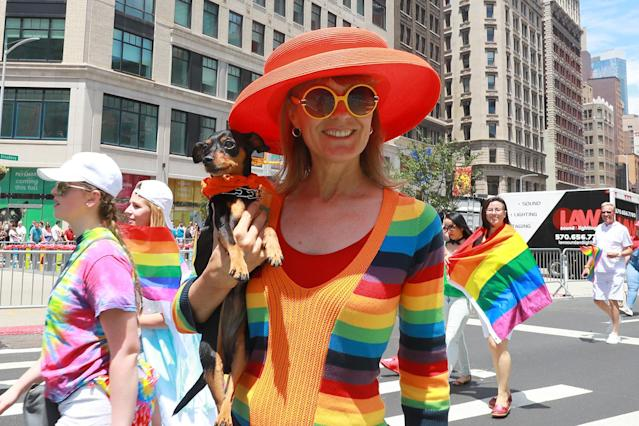 <p>Julia Harvey of New York City carries participant Gypsy in the N.Y.C. Pride Parade in New York on June 25, 2017. (Photo: Gordon Donovan/Yahoo News) </p>