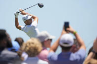 Justin Thomas watches his shot on the ninth tee during the first round of the PGA Championship golf tournament on the Ocean Course Thursday, May 20, 2021, in Kiawah Island, S.C. (AP Photo/David J. Phillip)