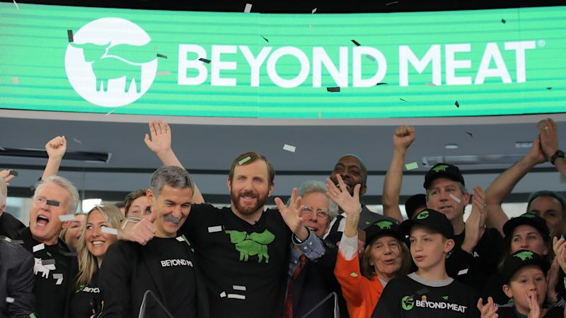 Ethan Brown, founder and CEO of Beyond Meat, rings the opening bell with company executives and guests during the company's IPO at the Nasdaq Market site in New York, U.S., May 2, 2019. REUTERS/Brendan McDermid