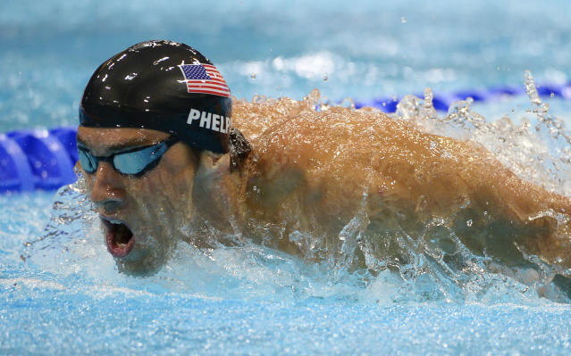 United States' Michael Phelps competes in the men's 400-meter individual medley swimming final at the Aquatics Centre in the Olympic Park during the 2012 Summer Olympics in London, Saturday, July 28, 2012. (AP Photo/Mark J. Terrill)