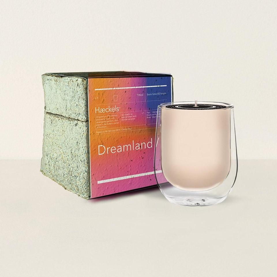 """Haeckels Dreamland Candle has reached cult-classic status due to its nuanced notes of what everyone says is waves of nostalgia and warmth. On Haeckels' site, it says this candle was """"inspired by an abandoned amusement park that nature eventually reclaimed,"""" and we can already smell the memories of unbridled laughter overtaken by feral flowers and woodland. $68, Goodee. <a href=""""https://www.goodeeworld.com/collections/all/products/dreamland-gps-23-5-n-candle"""" rel=""""nofollow noopener"""" target=""""_blank"""" data-ylk=""""slk:Get it now!"""" class=""""link rapid-noclick-resp"""">Get it now!</a>"""