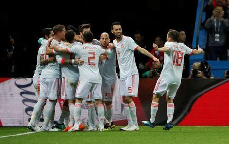 Soccer Football - World Cup - Group B - Iran vs Spain - Kazan Arena, Kazan, Russia - June 20, 2018 Spain's Diego Costa celebrates with team mates after scoring their first goal REUTERS/Jorge Silva