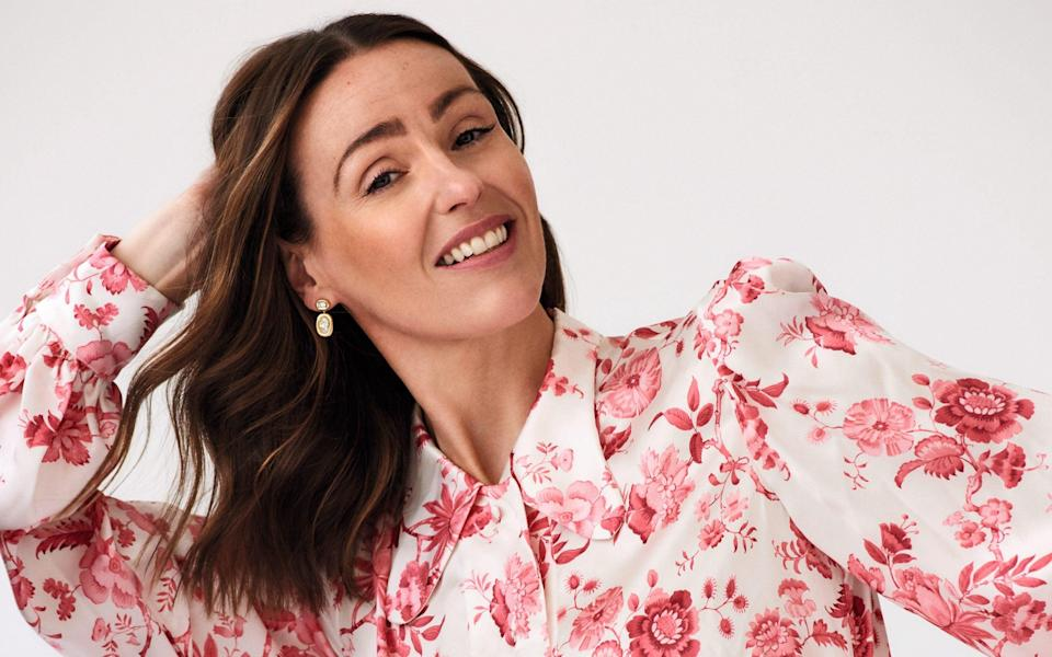 Suranne wears: silk blouse, £585, and silk trousers, £575, both The Vampire's Wife; earrings, POA, Jessica McCormack - Philip Sinden