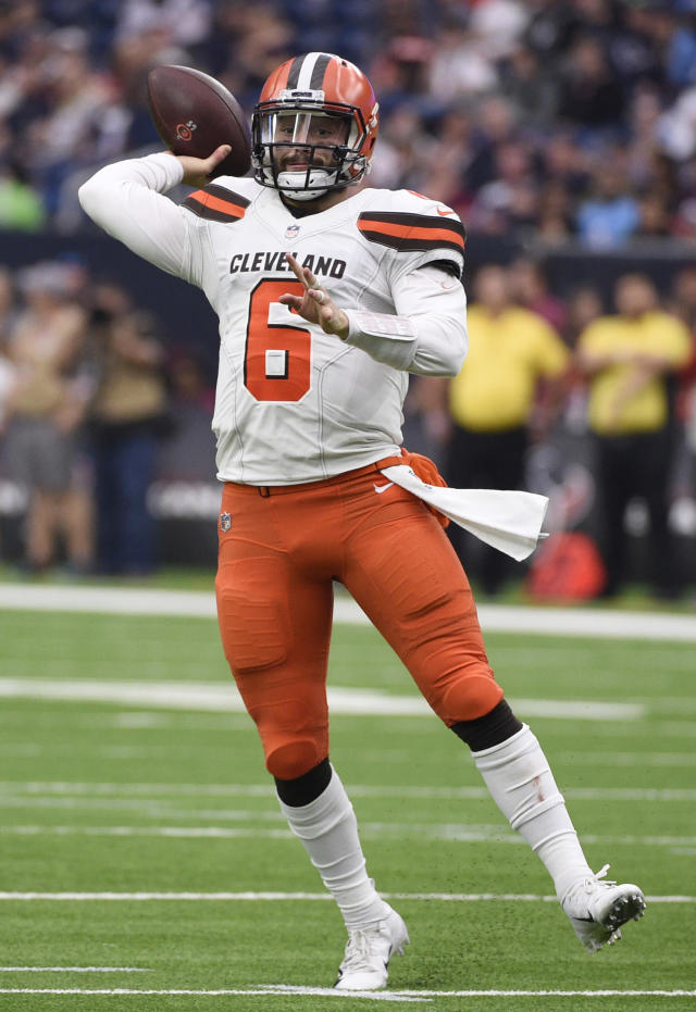 FILE - In this Dec. 2, 2018, file photo, Cleveland Browns quarterback Baker Mayfield (6) passes during the second half of an NFL football game against the Houston Texans, in Houston. The Carolina Panthers play the Browns in Cleveland on Sunday.(AP Photo/Eric Christian Smith, File)