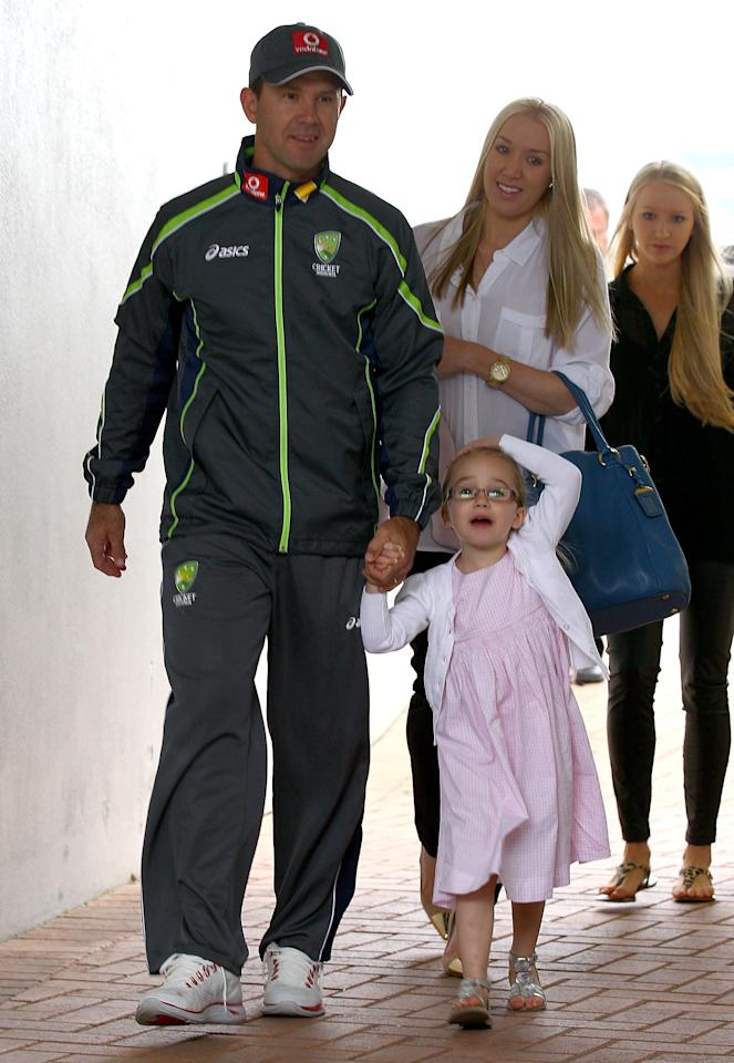 PERTH, AUSTRALIA - NOVEMBER 29:  Australian cricket player Ricky Ponting walks with his wife Rianna and family to attend a press conference to announce his retirement from international cricket on November 29, 2012 in Perth, Australia.  (Photo by Paul Kane/Getty Images)