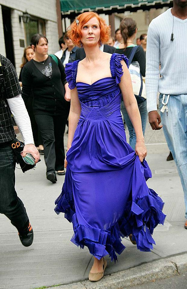 "Cynthia Nixon reveals a pair of comfy pair of shoes underneath Miranda's violet gown. Jackson Lee/<a href=""http://www.splashnewsonline.com/"" target=""new"">Splash News</a> - October 3, 2007"