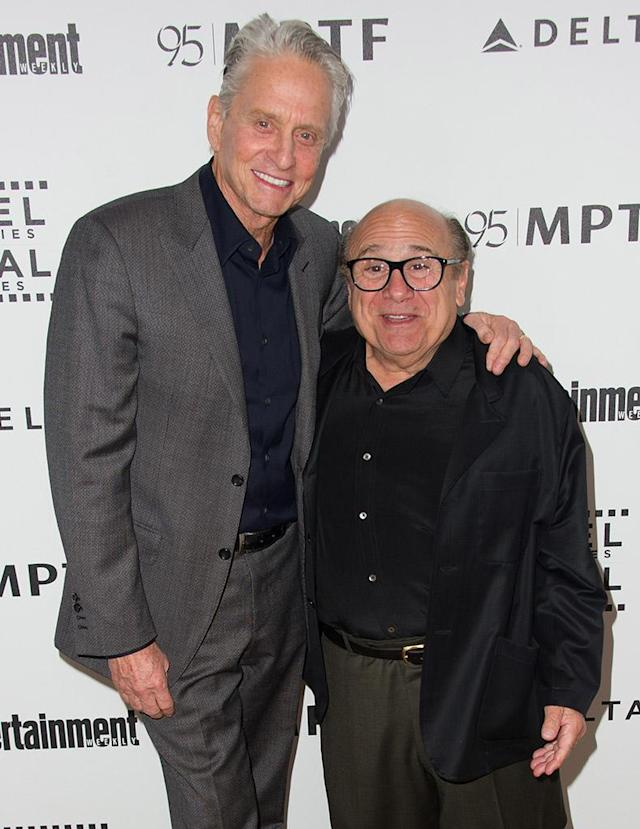 """<p>It's no coincidence that these guys worked together in several films, including the 1984 hit <i>Romancing the Stone</i> and 1989's <i>The War of the Roses</i>. Douglas and DeVito roomed together, on West 89th Street in New York City, when both were taking acting classes. After a 2010 tribute to Douglas, <i>New York </i>magazine asked him about the kind of things they did together, to which Douglas replied, """"Let's just say, <a href=""""http://www.vulture.com/2010/05/danny_devito_kills_with_his_mi.html"""" rel=""""nofollow noopener"""" target=""""_blank"""" data-ylk=""""slk:it was the '60s"""" class=""""link rapid-noclick-resp"""">it was the '60s</a>."""" (Photo by Allen Berezovsky/WireImage) </p>"""