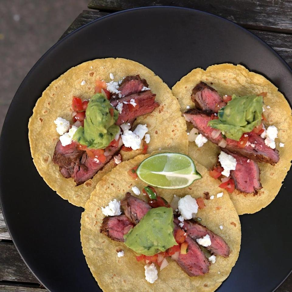 "<p><strong>Get the recipe:</strong> <a href=""http://www.popsugar.com/food/Steak-Taco-Recipe-9236690/"" class=""link rapid-noclick-resp"" rel=""nofollow noopener"" target=""_blank"" data-ylk=""slk:flank steak tacos"">flank steak tacos</a></p>"