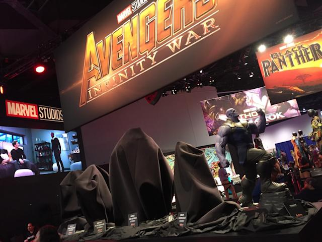"""<p>A rumor spread through the expo that the characters under the shroud behind Thanos were going to be the Fantastic Four. Alas, <a href=""""https://www.yahoo.com/movies/marvel-chief-kevin-feige-debunks-rumor-fantastic-four-joining-mcu-050214060.html"""" data-ylk=""""slk:that turned out not to be the case"""" class=""""link rapid-noclick-resp"""">that turned out not to be the case</a>. (Photo: Marcus Errico/Yahoo Movies) </p>"""