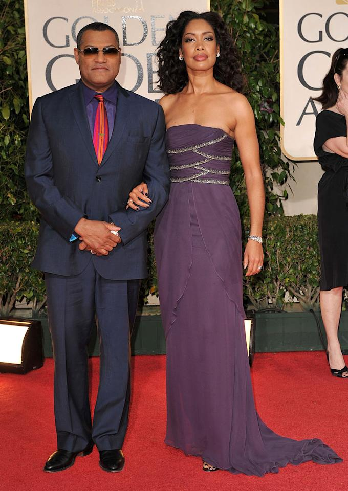 Laurence Fishburne and wife Gina Torres arrive at the 66th Annual Golden Globe Awards on January 11, 2009 in Beverly Hills, CA. (Photo by Steve Granitz/WireImage.com)