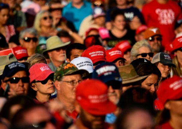 PHOTO: Rally attendees wait for the arrival of President Donald Trump during a Make America Great Again rally at Aaron Bessant Amphitheater in Panama City Beach, Fla., May 8, 2019. (Brendan Smialowski/AFP/Getty Images)