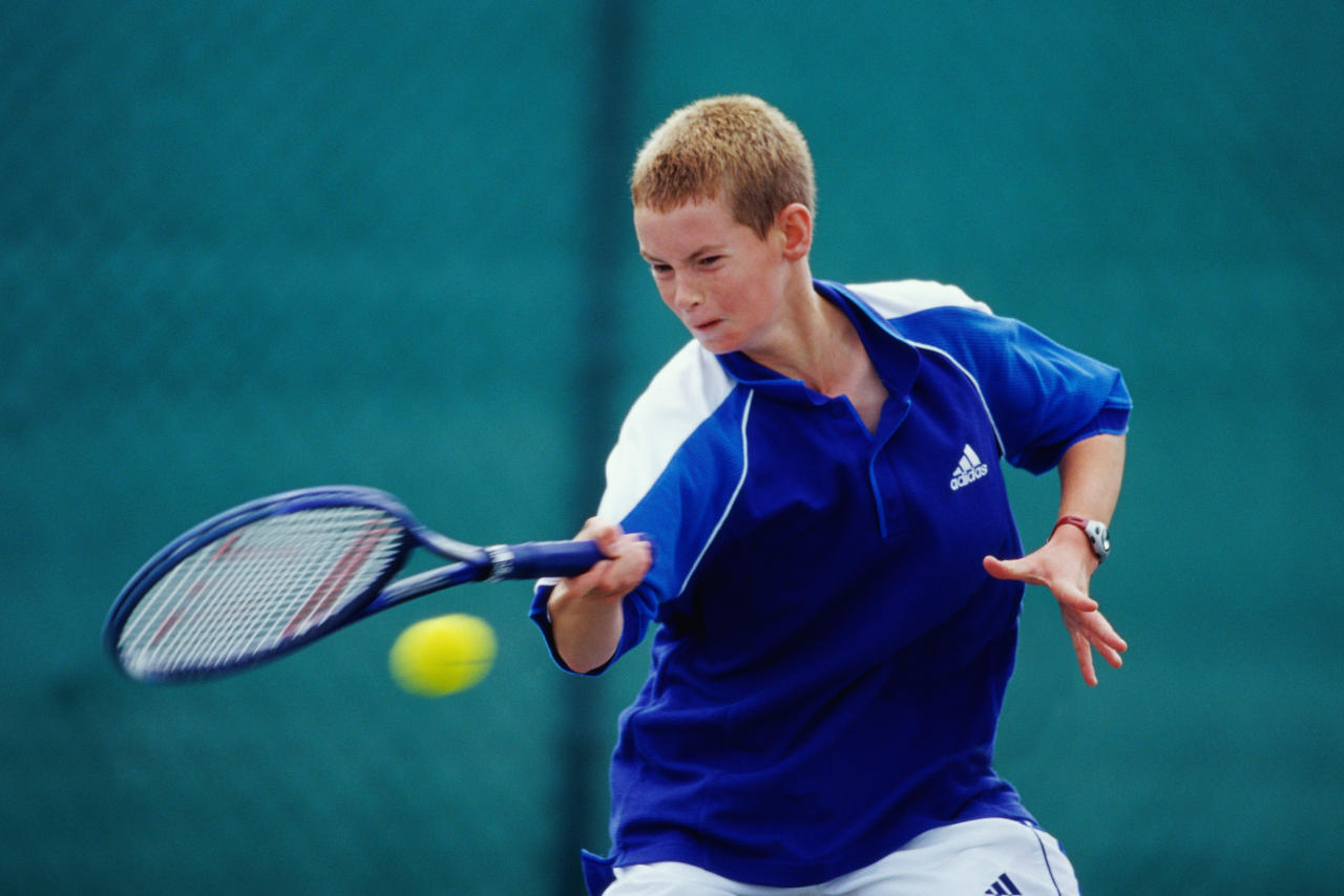 <p>Andy Murray in action during the Under 14s event of the National Junior Championships in 1999. (Getty Images) </p>