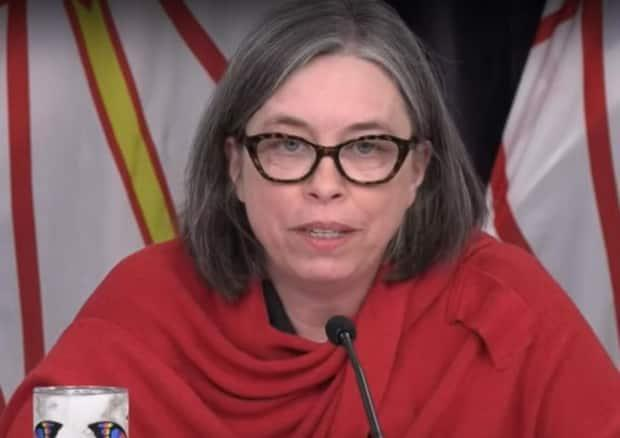 Dr. Janice Fitzgerald said Monday she's pausing the use of the AstraZeneca-Oxford vaccine in people under 55. (Government of Newfoundland and Labrador/YouTube - image credit)