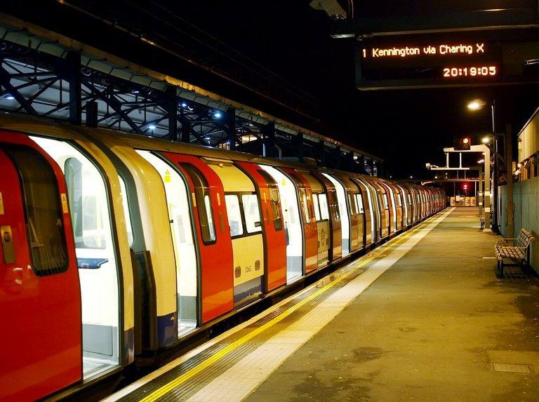 An empty London Underground train waits at Edgware Tube station in west London on October 3, 2010