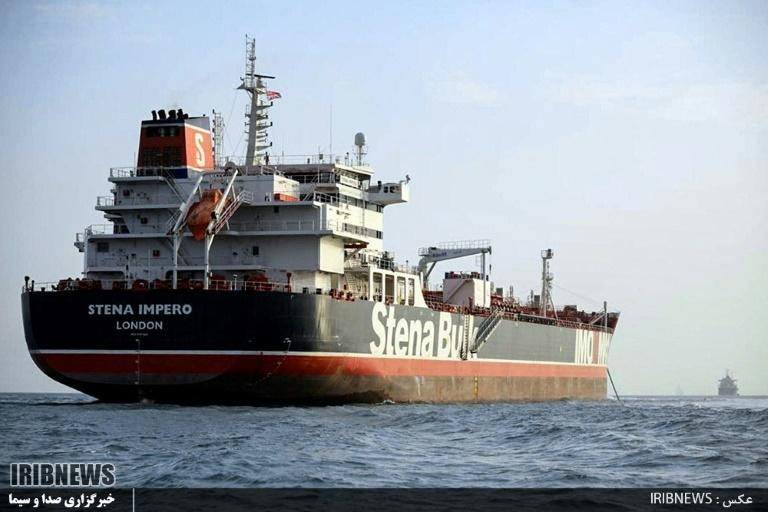 The British tanker Stena Impero anchored off the Iranian port of Bandar Abbas, after it was seized by Iranian forces on July 19 (AFP Photo/HO)
