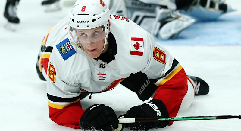 Juuso Valimaki of the Calgary Flames tore his ACL during off-season training. (Photo by Yong Teck Lim/Getty Images)