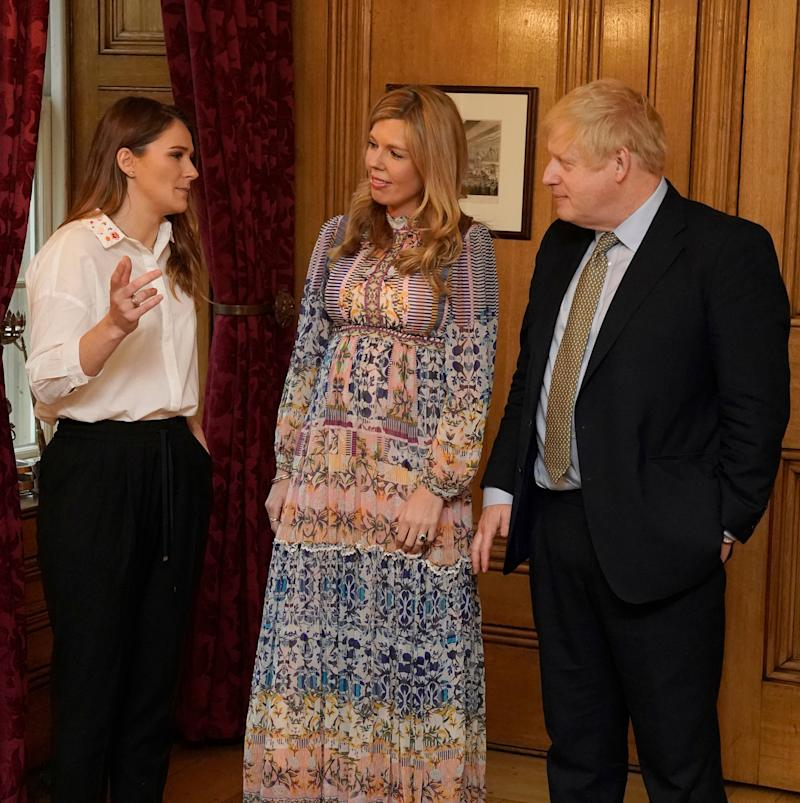 The UK's first girlfriend showed off her baby bump for the first time in a Downing Street reception this week [Image: PA]