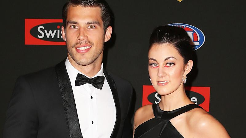 Alex Rance and wife Georgia, pictured here at the 2014 Brownlow Medal in Melbourne.