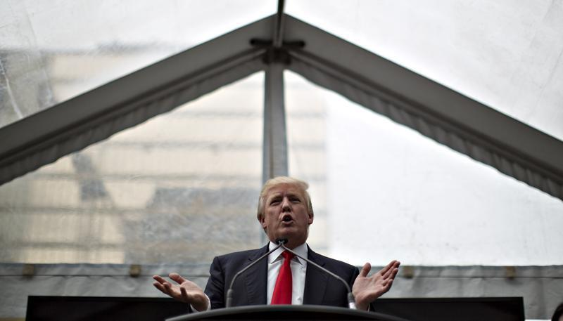 Trump addresses a ceremony announcing a new hotel and condominium complex in Vancouver