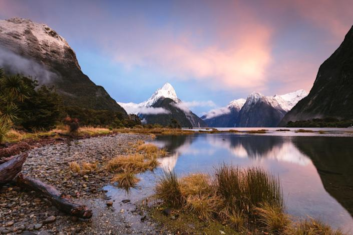 Dawn at Milford Sound in Fiordland National Park.