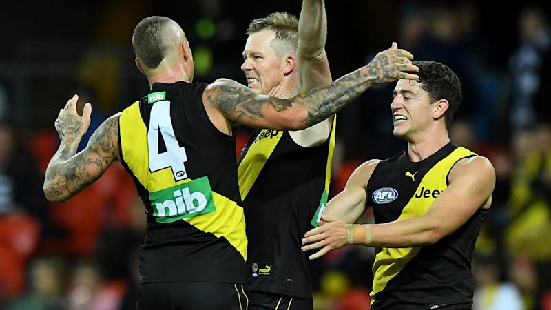 Jack Riewoldt, pictured here after kicking a goal in Richmond's win over Geelong.
