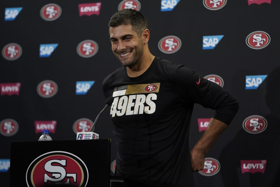 San Francisco 49ers quarterback Jimmy Garoppolo speaks during a news conference at NFL football training camp in Santa Clara, Calif., Wednesday, July 28, 2021. (AP Photo/Jeff Chiu)
