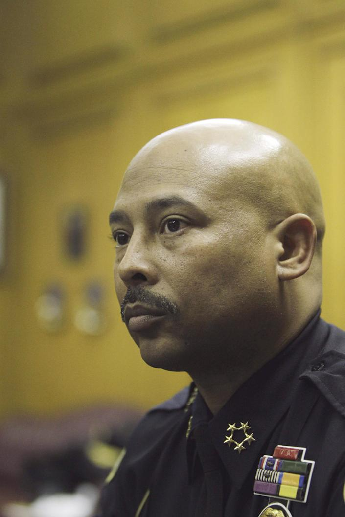 """In a Jan. 19, 2012 photo, Detroit Police Chief Ralph Godbee is interviewed in his office. On Tuesday, Oct. 2, 2012 Detroit Mayor Dave Bing suspended Godbee in probe of unspecified allegations. The mayor says he placed Godbee """"on a 30-day suspension pending a full and thorough investigation of this matter."""" (AP Photo/Carlos Osorio)"""