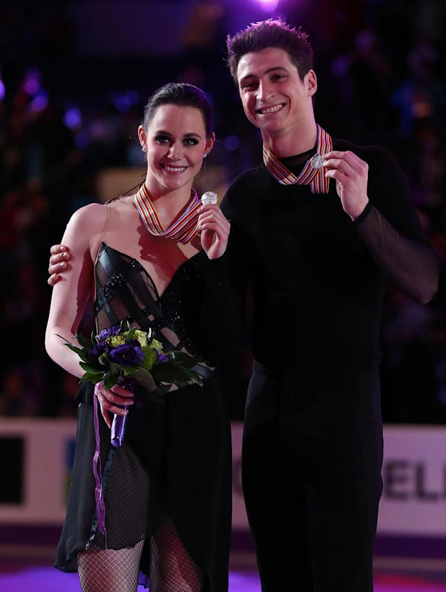 LONDON, CANADA - MARCH 16: Tessa Vitue and Scott Moir of Canada skate in the Ice Dance Free Dance Program during the 2013 ISU World Figure Skating Championships at Budweiser Gardens on March 16, 2013 in London, Ontario, Canada. (Photo by Dave Sandford/Getty Images)