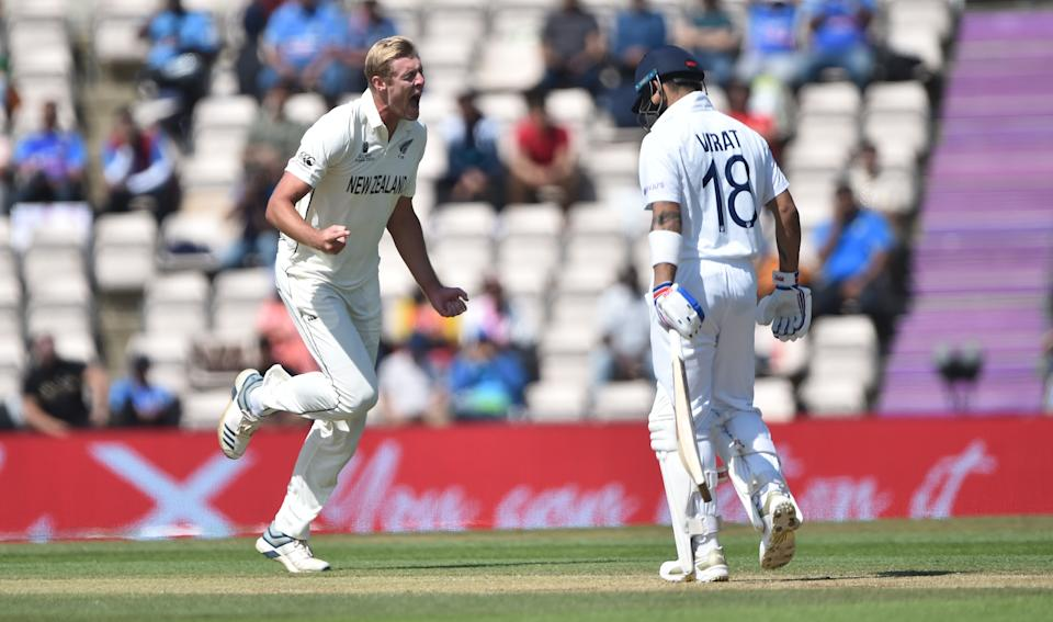 SOUTHAMPTON, ENGLAND - JUNE 23 : Kyle Jamieson of New Zealand celebrates after he gets Virat Kohli of India out during Day 6 of the ICC World Test Championship Final between India and New Zealand at The Hampshire Bowl on June 23, 2021 in Southampton, England. (Photo by Nathan Stirk-ICC/ICC via Getty Images)