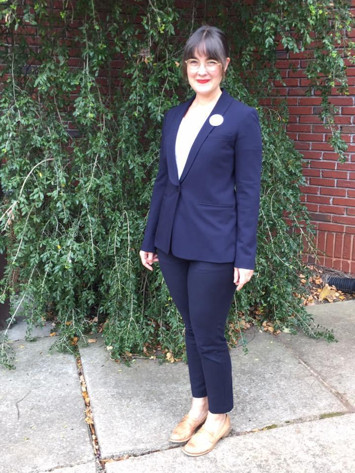 <p>Laurel Wells Thompson says she was the only person in a pantsuit she saw at the polls, but as a wife, mother, artist, and small business owner, she was incredibly proud to be dressed in line with other members of #PantsuitNation. (Photo: Courtesy of Laurel Wells Thompson) </p>
