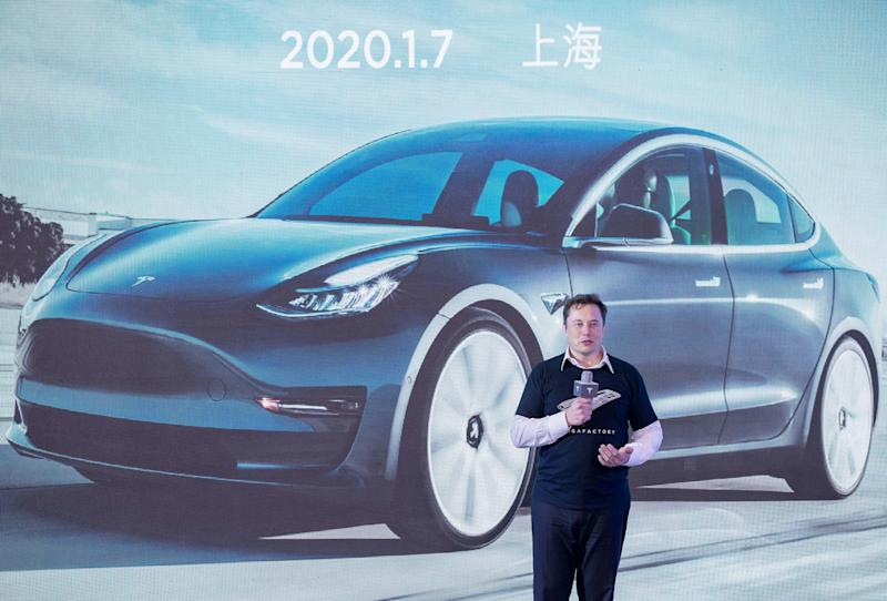 SHANGHAI, Jan. 7, 2020 -- Tesla CEO Elon Musk speaks at a delivery ceremony for Tesla China-made Model 3 in Shanghai, east China, Jan. 7, 2020. U.S. electric carmaker Tesla officially delivered the first batch of 10 made-in-China Model 3 sedans to the public Tuesday afternoon, one year after the company broke ground on its first overseas plant. The company also announced the launch of a project to manufacture Model Y vehicles in its Shanghai gigafactory.(Photo by Ding Ting/Xinhua via Getty) (Xinhua/Ding Ting via Getty Images)