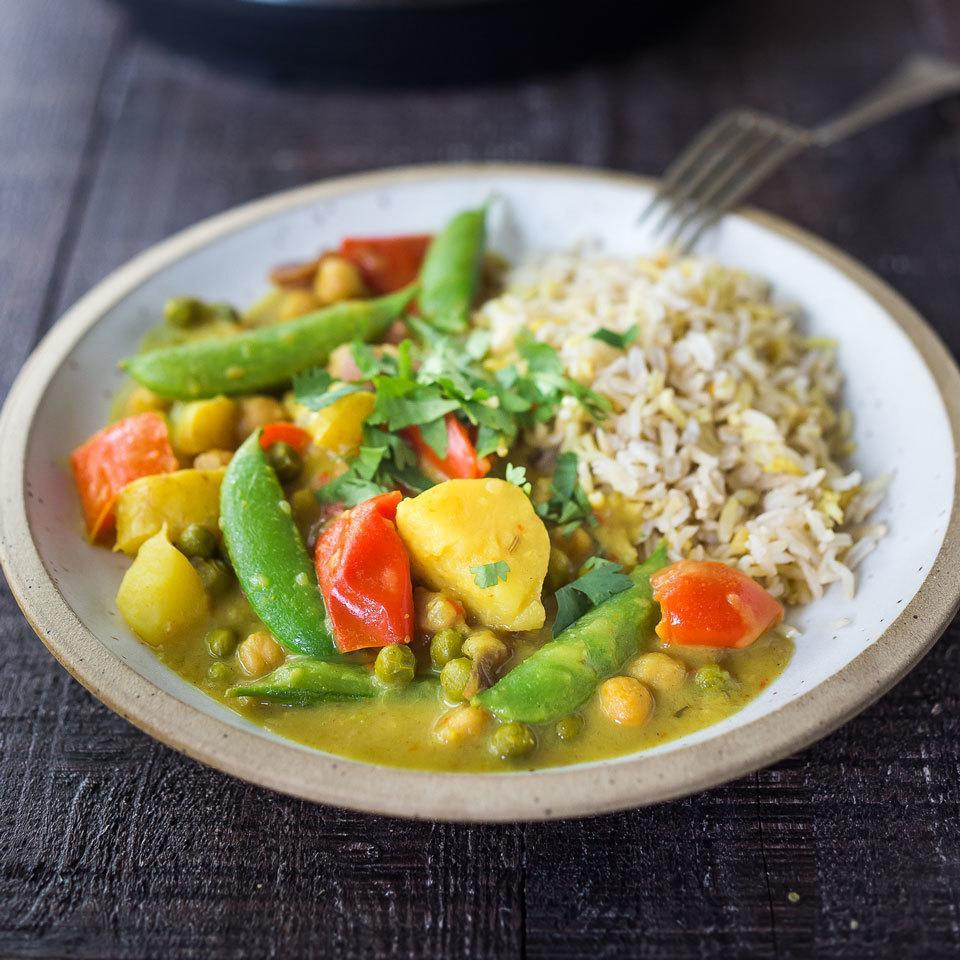 <p>This vegetable curry comes together fast thanks to the help of a multicooker. Coconut milk makes it creamy, while keeping this easy dinner vegan, and the potatoes and chickpeas help bulk up the dish for a satisfying meal. Serve over basmati rice, quinoa or cauliflower rice.</p>