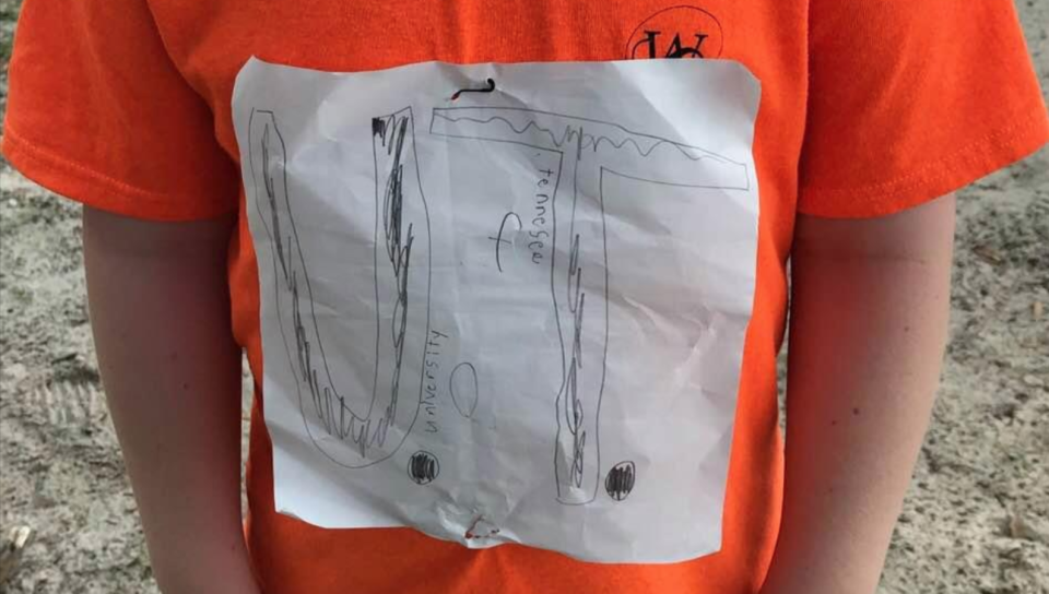 Students at a Pennsylvania school wore orange T-shirts to support a boy bullied for his homemade University of Tennessee shirt. (Photo: Facebook/Laura Snyder)