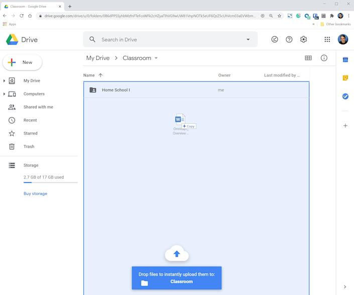 You can drag and drop files directly into your browser to upload them to Google Drive.
