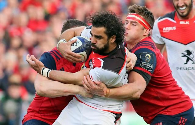 Toulouse's French winger Yoann Huget is tackled during their European Champions Cup quarter-final rugby union match against Munster at Thomond Park in Limerick, Ireland on April 1, 2017 (AFP Photo/Paul FAITH)