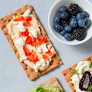 <p>A savory topping of feta cheese, hummus, and sweet bell pepper make this super-easy, tasty crispbread snack a perfect munch for the long, warm days of summer.</p>