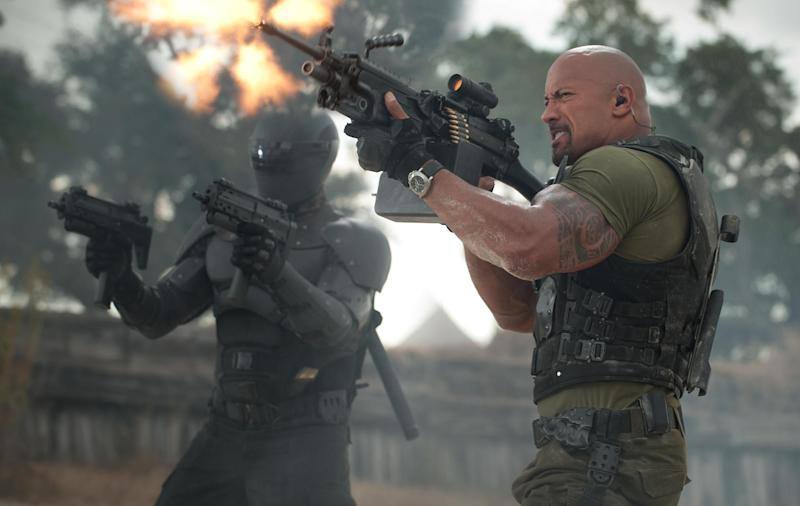 """This film image released by Paramount Pictures shows Ray Park, left, and Dwayne Johnson in a scene from """"G.I. Joe: Retaliation."""" (AP Photo/Paramount Pictures, Jaimie Trueblood)"""