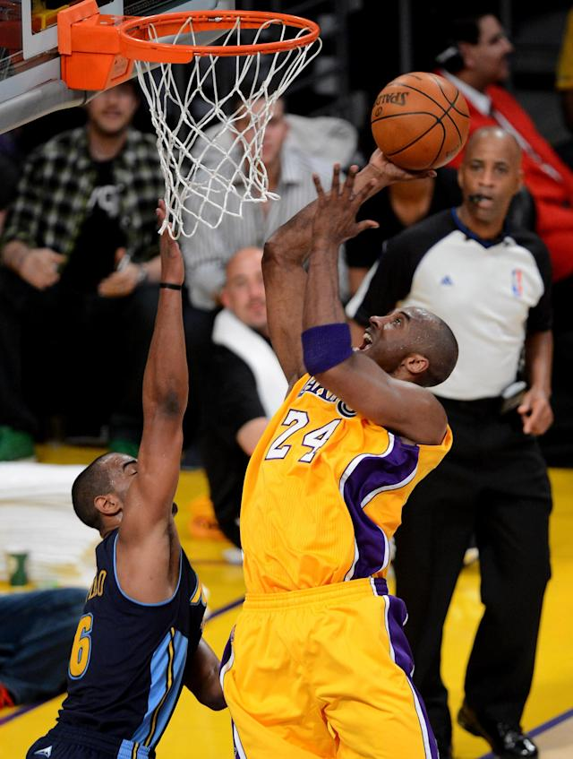 LOS ANGELES, CA - MAY 12: Kobe Bryant #24 of the Los Angeles Lakers shoots the ball over Arron Afflalo #6 of the Denver Nuggets in the first half in Game Seven of the Western Conference Quarterfinals in the 2012 NBA Playoffs on May 12, 2012 at Staples Center in Los Angeles, California. NOTE TO USER: User expressly acknowledges and agrees that, by downloading and or using this photograph, User is consenting to the terms and conditions of the Getty Images License Agreement. (Photo by Kevork Djansezian/Getty Images)