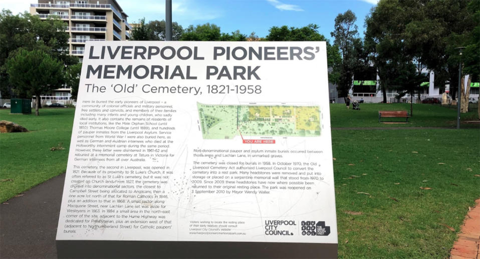A sign at Liverpool Pioneers' Memorial Park.