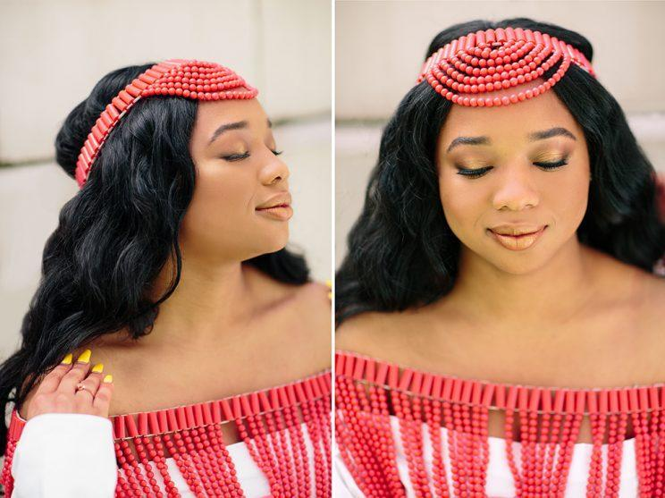 Okorie looks radiant and regal as she channels her mother's Nigerian bridal bliss. (Photo: Priscilla De Castro)