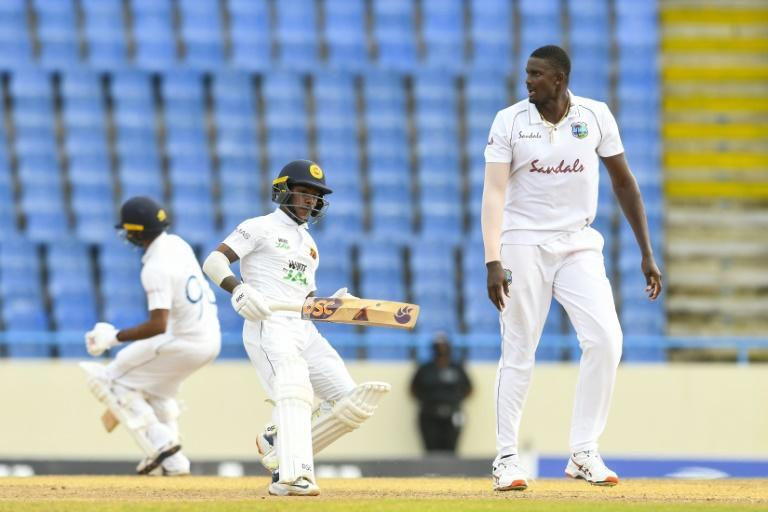 Nissanka (L) frustrated the West Indies with an unbeaten 49