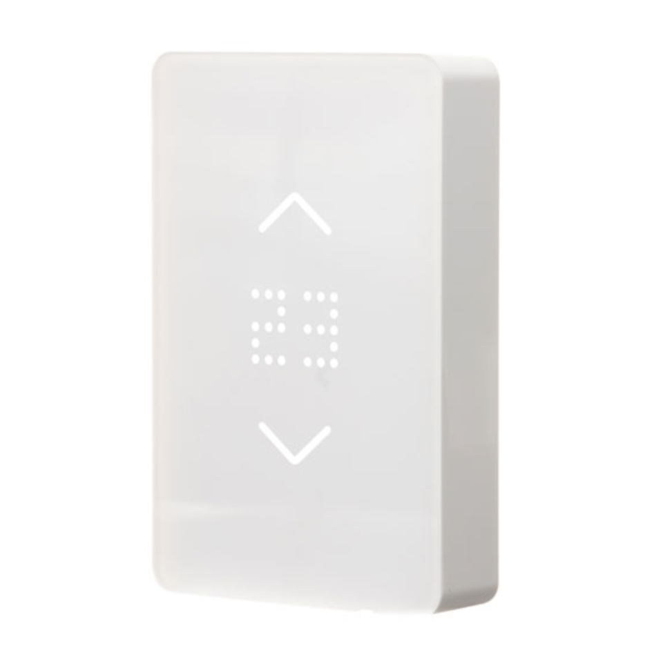 white MYSA Smart Thermostat for Electric Baseboard Heating with digits on screen