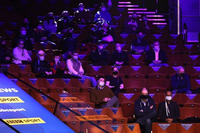 There were also a limited number in attendance at the snooker at the Crucible Theatre in Sheffield