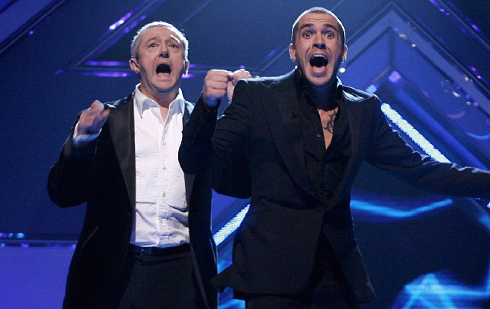 Shayne Ward with Louis on The X Factor in 2005 (REX)